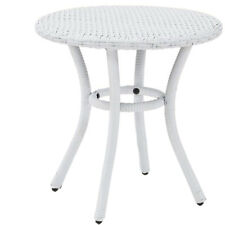 Crosley Furniture Palm Harbor Outdoor Backyard Patio Wicker Side Table, White