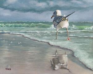 "Giclee fine art print of oil painting seagull beach walking, seascape 8""×10"""