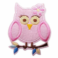 Baby Pink Owl Iron Sew on Appliques Patches Farm Zoo Animals Embroidered Motif