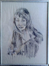 Woman Portrait. Original Drawing Signed Lihos. Pencil on Paper, 1997