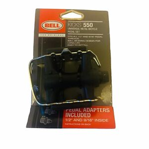 """BELL KICKS 550 UNIVERSAL METAL BICYCLE PEDAL SET FITS ALL 1/2"""" 9/16"""" THREADS NEW"""