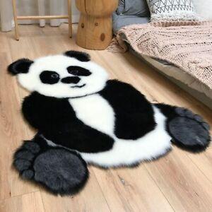 Panda Printed Rug Carpet Cowhide Faux Skin NonSlip Antiskid Mat Animal Carpet