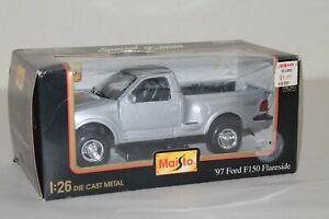 Maisto 1:26 Die Cast Metal Silver 97 Ford F150 Flareside Pickup Truck Model NIB