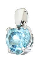 Colgante Corazón Oro Blanco 585 Topacio Azul Colgante de Collar Liebeserklärung