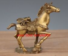 10 CM Chinese Brass Copper The Fly on Horse Equine Wealth Fengshui Animal Statue