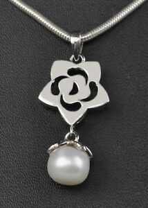 3.00Ct Natural Freshwater Pearl Round Shape Solitaire Pendant In 14KT White Gold