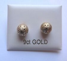 7mm 9ct gold frosted and Diamond cut ball stud earrings