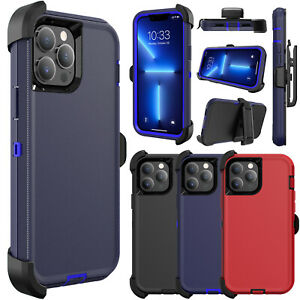 For iPhone 13 Pro Max, Mini Case Shockproof Rugged Stand Cover/Belt Clip Holster