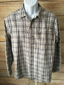 The North Face Men's Gray Plaid 100% Nylon Vented Outdoors Shirt Large
