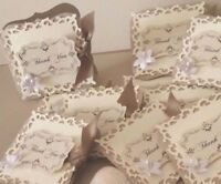 Hand crafted vintage wedding'Thank you'gift note cards 20,50,100.