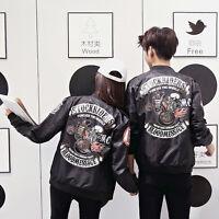 NEW Men's Jacket  Army Flight Bomber Jacket Coat Punk skull print Lovers Outwear