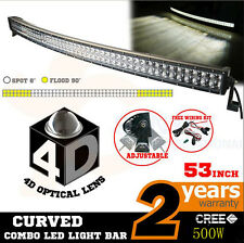 "52"" 500W Curved Work LED Light Bar Fog Driving DRL SUV 4WD Boat Truck Offroad DE"