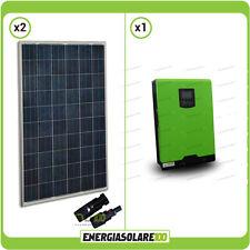 Kit  panel solar 500W inversor hibrido onda pura 3KW 24V regulador PWM