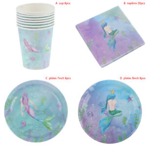 Fresh Mermaid Theme Party Decoration Set Plate Napkin Cup Baby Shower G`US