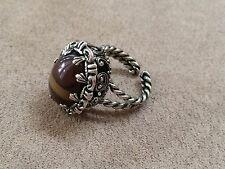 Art Glass West German glass brown swirl Ring Size - Adjustable