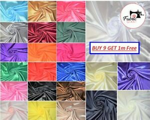 Silky Satin Fabric Dress Craft Fabric Plain Luxury Wedding Material 150 cm Wide
