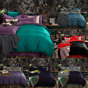 Reversible 1000TC Duvet Doona Quilt Cover set Solid Single/Double/Queen/King - R