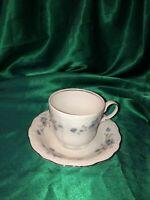 Johann Haviland Bavaria Germany Blue Garland  Flat Coffee/Tea Cup and Saucer
