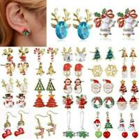 8 Pairs Christmas Women Crystal Snowman Tree Ear Studs Earrings Jewelry Gift