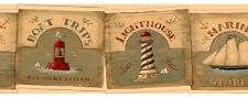 Retro Coastal Signs Wallpaper Border - Lighthouses - Buoys - Schooners - SALE!