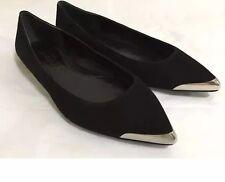 NEW 8.5 38.5 Alexander McQueen Shoes Black Suede Skimmer Ballet Flats Sleek