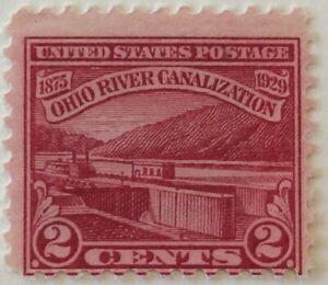 1929 2c Ohio River Canalization Commemorative single, Scott #681, MH, VG-F