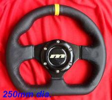 Motorsport Volant 250 mm fond plat en cuir noir