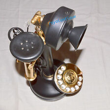 ANTIQUE VINTAGE STYLE BRASS RETRO TABLE TELEPHONE ROTARY DIAL ANCIENT PRIMITIVE
