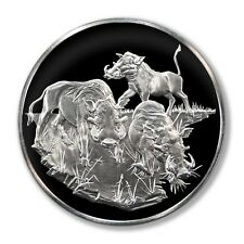 Franklin Mint East African Wild Life Society Warthogs 1971 2 Oz Proof Silver Med