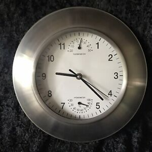 """Brushed Stainless Steel Wall Clock Retro Thermometer Hygrometer Working D 11.5"""""""
