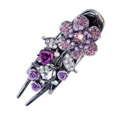 Purple Ladies's Rhinestone Crystal Hair Barrettes Hairpin Flower Chic Hair Clips