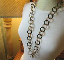 & Metal O Rings Necklace Interlocking Faux Tortoise Shell O Rings