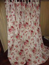 WAVERLY VINTAGE NORFOLK ROSES (PAIR) HUGE TAB TOP PANEL RED FLORAL CREAM 82 X 80