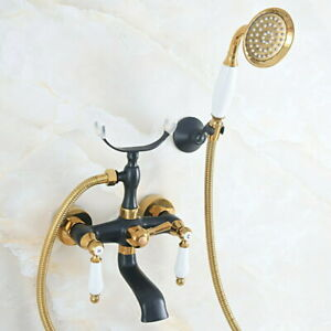 Wall Mounted Telephone Bathtub Taps Black Gold Color Handheld Shower Faucet
