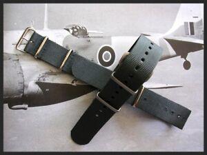 NATO G10 ® British Admiralty Grey prem Nylon watch band RAF strap Bond IW SUISSE