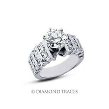 3.48 Carat D-SI2 Round Cut Natural Certified Diamonds 14k Gold Engagement Ring