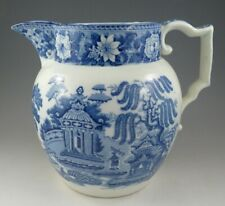 Antique Pottery Pearlware Blue Transfer Swansea Cambrian Large Jug 1815