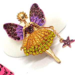 Betsey Johnson Purple Yellow Crystal Ballet Girl Fairy Angel Wing Brooch Pin