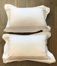 "Set 2 Hotel Collection  100% Cotton 21"" X 14"" Decorative Pillows  White / Gray"