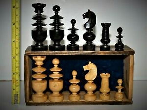"Lovely antique/vintage 'French Regency' Chess Set (K = 71 mm/2.8"") + orig. box."