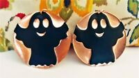 Halloween Ghost Embossed Handcrafted Dangle Earrings Costume