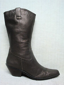 COLDWATER CREEK - Women's Bronze Leather Western Cowboy Boots - Size 8 M