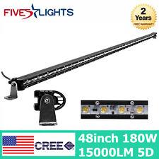 48'' 180W LED Work Light Bar Single Row Slim Lamp Driving Boat TOP Truck SUV ATV