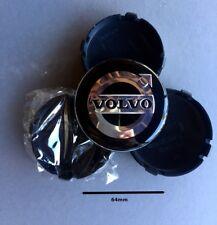 4 x 64mm VOLVO wheel caps Black & Chrome new C70, S60, XC60 etc