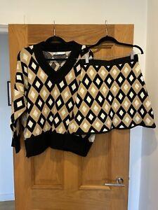 Gorgeous Womens Zara Chunky Knit Diamond Jumper & Skirt Two Piece Set S & M