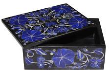 "4""x3""x2"" Black Belgium Marble Jewelry Box Lapis Lazuli Inlay Pieradure Art H2374"
