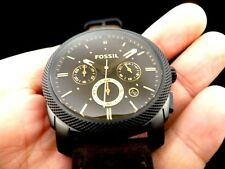 New Old Stock FOSSIL FS4656 Chronograph Date Leather Strap Quartz Men Watch