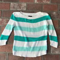 Tommy Hilfiger Women's Size S Green and White Stripe Swoop neck Sweater