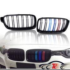 For BMW F30 320i 328i 335i Shiny Black Front Bumper Grille Dual Slat M Color