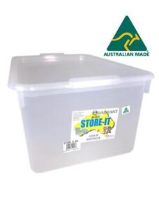 4x 20L Clear Plastic Storage Box w Lid  Storage Containers Tubs Australia Made